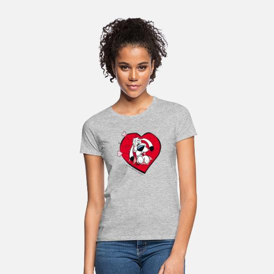 Officialbrands T-Shirts - Asterix & Obelix - Idefix with heart Tote Bag - Women's T-Shirt heather grey