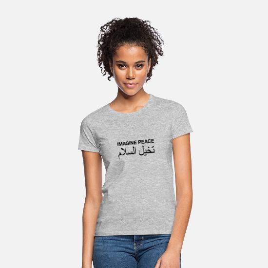 Arabien T-Shirts - Imagine Peace - Frauen T-Shirt Grau meliert