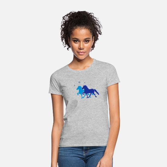 Islande T-shirts - Two Horses with silver-metallic Stars - T-shirt Femme gris chiné