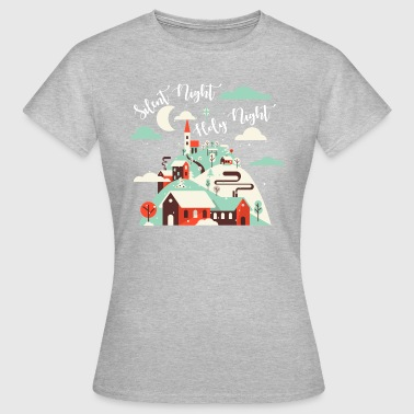 Silent Night.Holy Night. Winter Village.Christian. - Dame-T-shirt