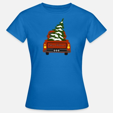 Pick Up Truck Red pick-up with fir tree - Women's T-Shirt