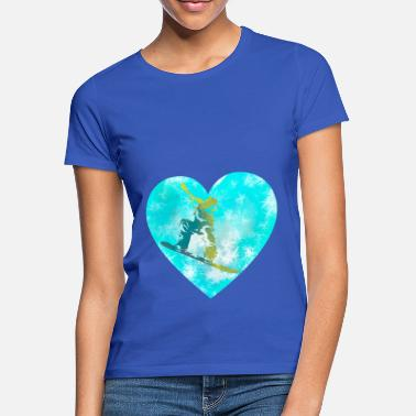 1 heart for snowboarders gift idea winter sport - Women's T-Shirt