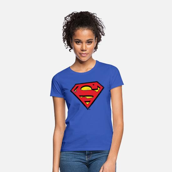 Superhelden T-Shirts - DC Comics Superman Logo Used Look - Frauen T-Shirt Royalblau