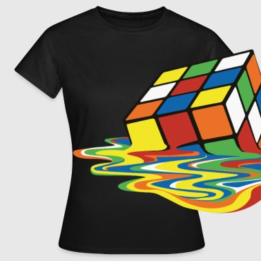 Rubiks Cube Rubik's Cube Melted Colourful Puddle - Dame-T-shirt