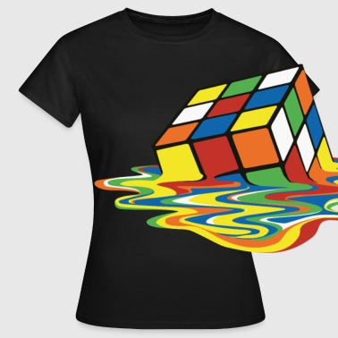 Rubik's Cube Melted Colourful Puddle - Dame-T-shirt