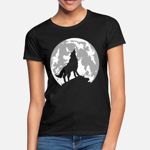 d7606a538c5 loup lune - T-shirt Femme. Dos. Dos. Design. Devant