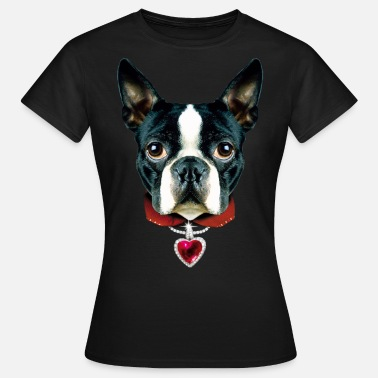 Halsband 02 Boston Terrier I LOVE Heart Herz Liebe - Frauen T-Shirt