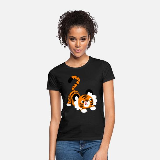Pounce T-Shirts - Cute Cartoon Tiger Ready To Pounce!! by Cheerful Madness!! - Women's T-Shirt black