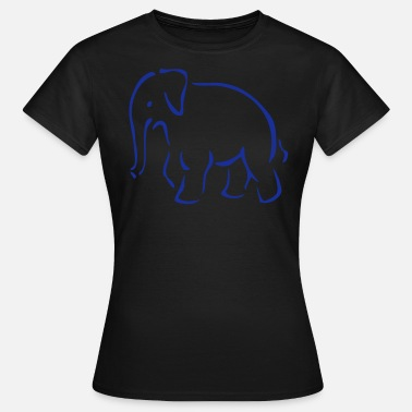 Zoo, elephant, giant, stoßzahn, ivory, outline, outlined, shade, animal, animals, Africa, India  - Dame-T-shirt