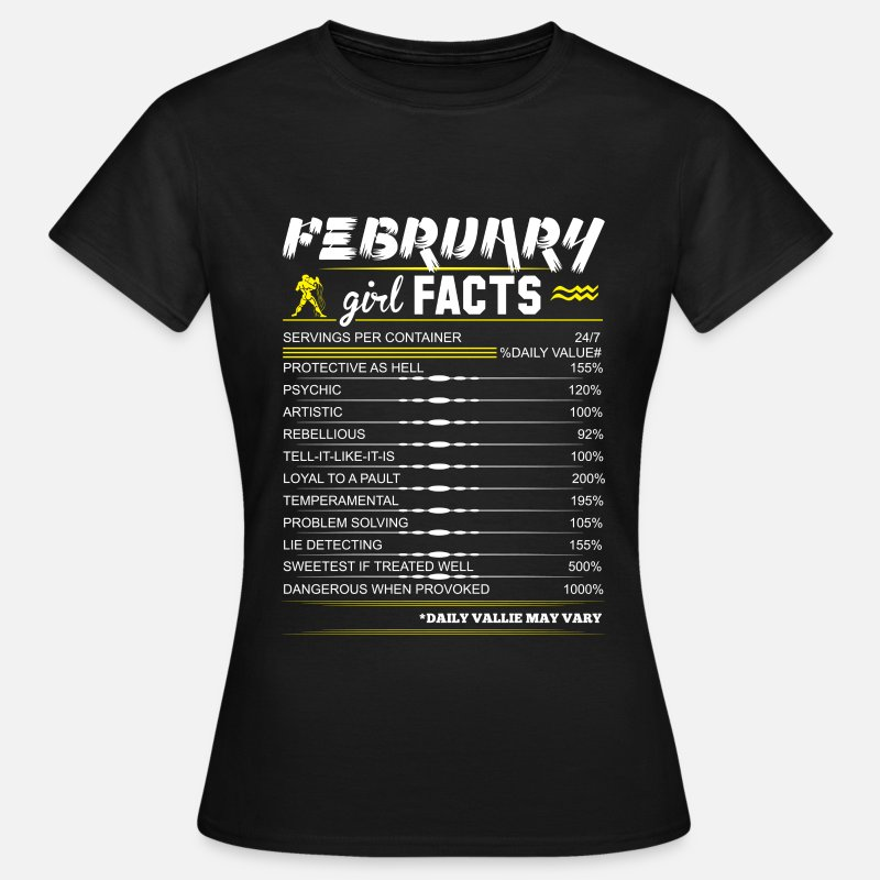 February T-Shirts - February Girl Facts Aquarius - Women's T-Shirt black