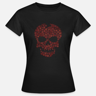 Shape Snowflakes word cloud in skull face shape (red) - Women's T-Shirt