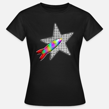 3d Look COLORFUL ROCKET WITH STAR IN 3D look - Women's T-Shirt