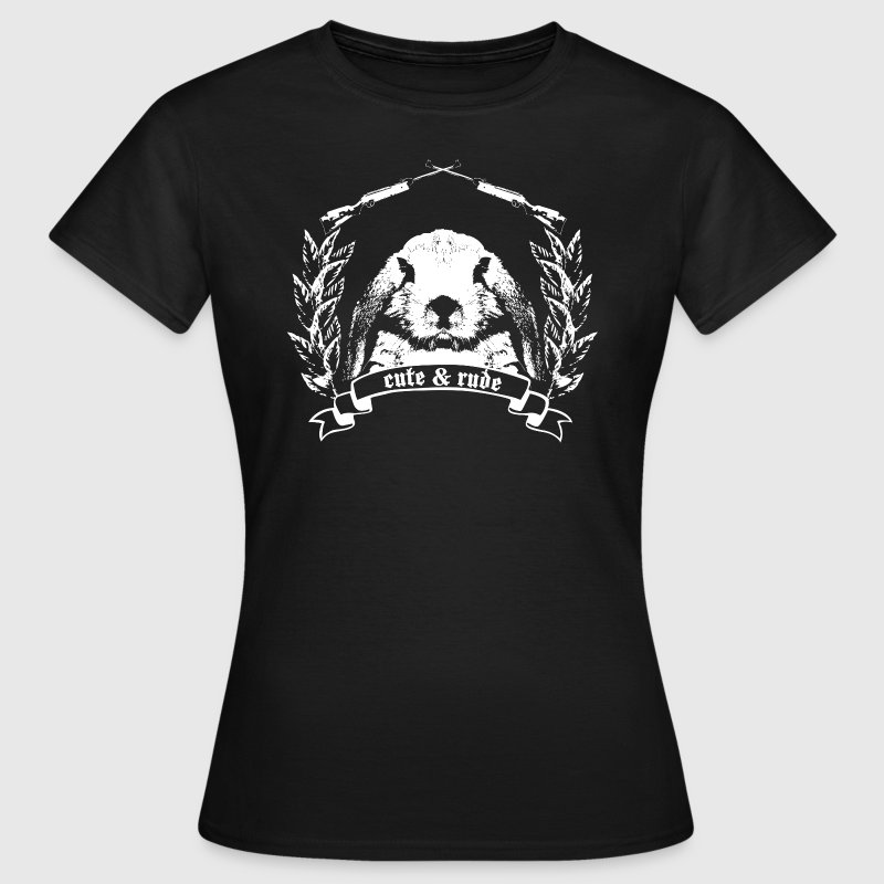 cute and rude bunny bunnies hare leveret jackass long ear gun pistol rifle casher hunter ranger hunt - Women's T-Shirt