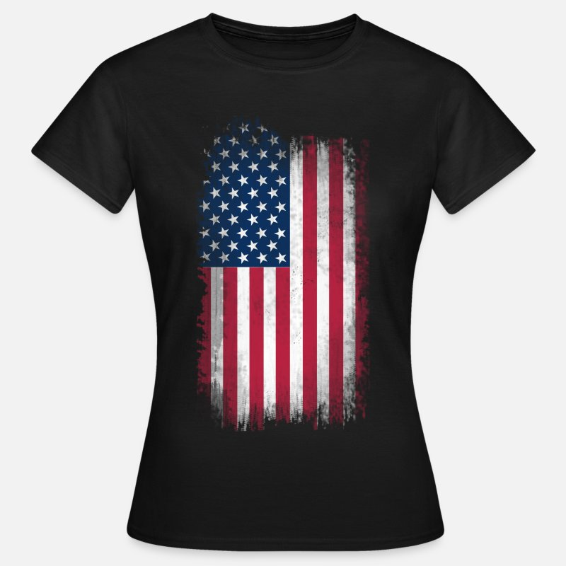 Flag T-Shirts - Eroded USA Flag - Women's T-Shirt black