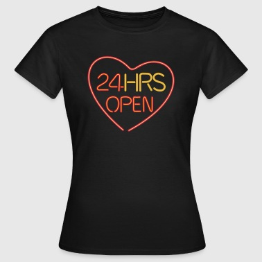neon: 24 hrs open heart - T-skjorte for kvinner