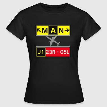 Ryanair MAN Manchester Airport Taxiway & Runway Sign - Women's T-Shirt