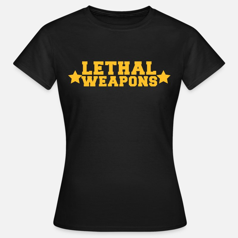 Boobs T-Shirts - lethal weapons with star  - Women's T-Shirt black