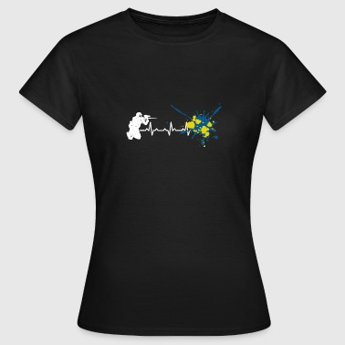 Gun Heart Heartbeat Paint Gun Heart Rate - Women's T-Shirt