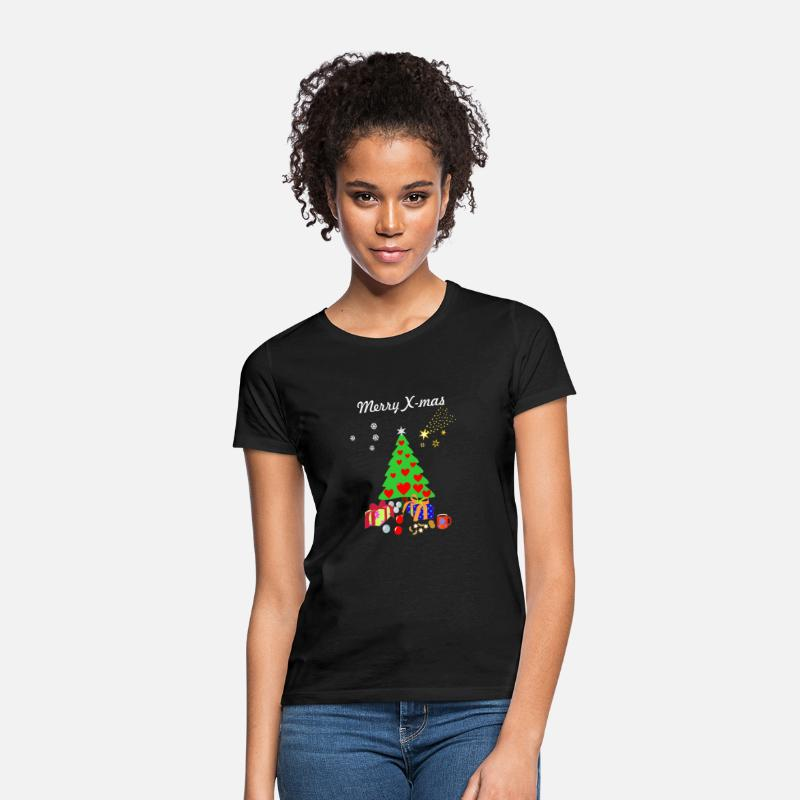 Christmas T-Shirts - Merry X-mas, Christmas Tree with decorations. - Women's T-Shirt black