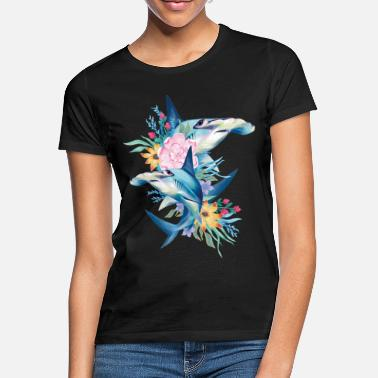 Sharks Animal Planet Cute Hammerhead Sharks Flowers - Women's T-Shirt