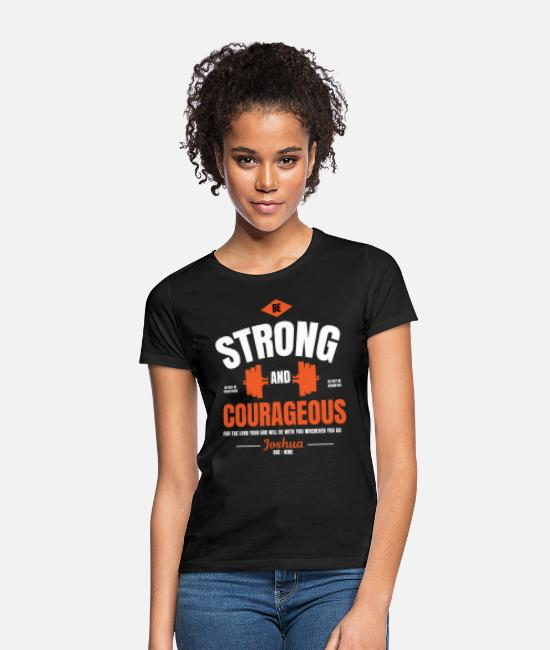 Christian Weight Lifting T-Shirts - Weight Lifting Joshua 1 9 Christian Design - Women's T-Shirt black