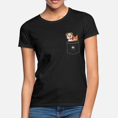 Made In Usa Chat et chien en poche Made in USA - T-shirt Femme