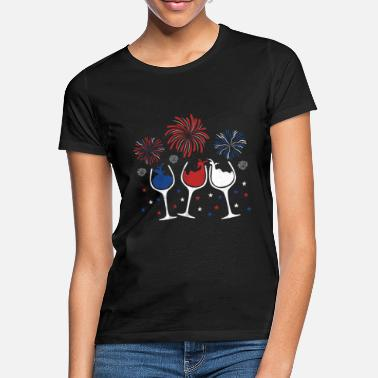 Blue Red White and Blue Funny Wine Glass Shirt for 4th - Women's T-Shirt