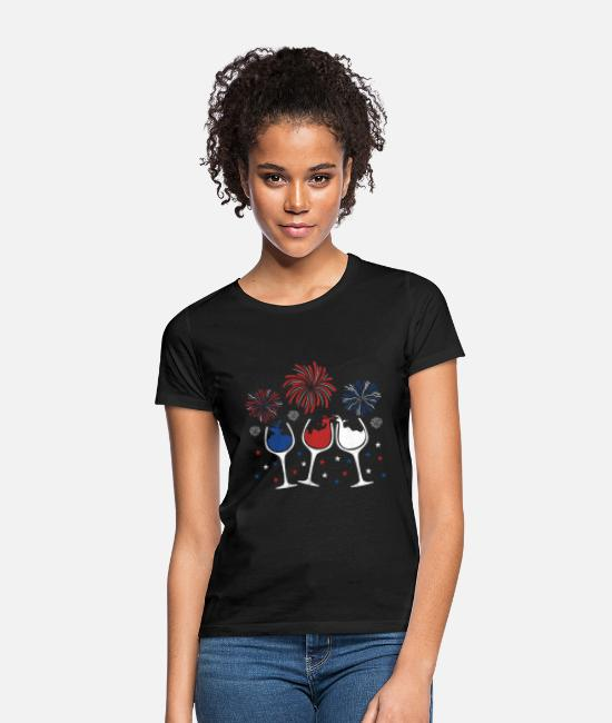 Red T-Shirts - Red White And Blue Funny Wine Glass For 4Th Of - Women's T-Shirt black