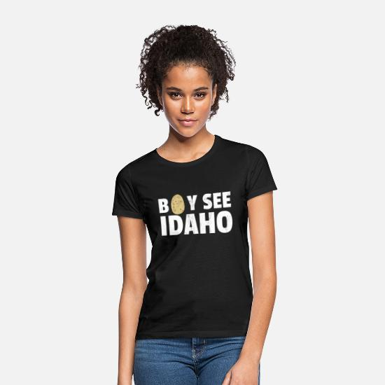 Mummy T-Shirts - Boy See Idaho design Boise Idaho graphic Idaho - Women's T-Shirt black