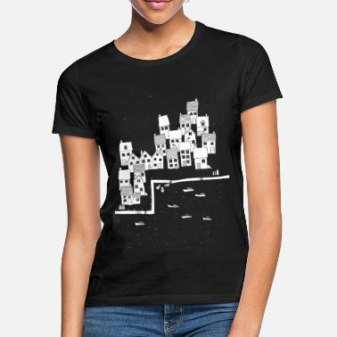 Sketch Fishing Village Sketch - Women's T-Shirt