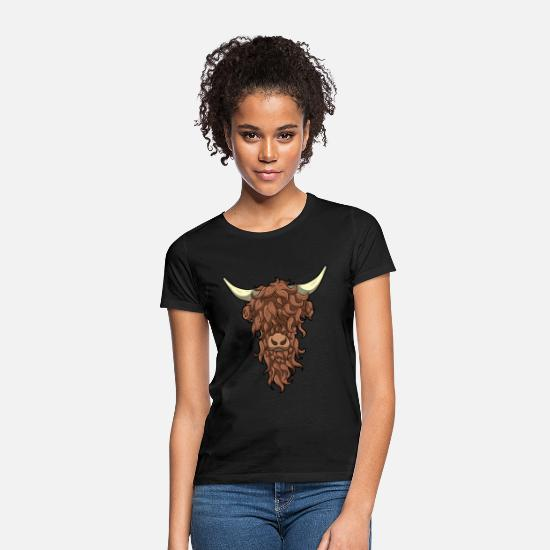 Cow T-Shirts - Scottish Highland Cow Wild Hairstyle Gift - Women's T-Shirt black
