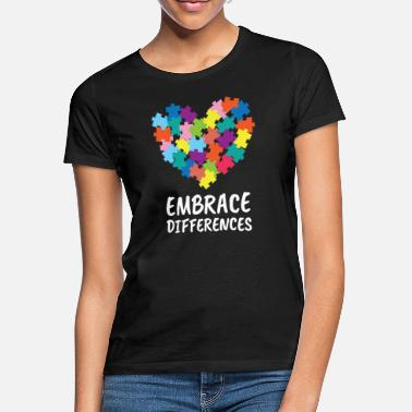 Autism Awareness Autism - Embrace Differences - With Puzzle Piece - Women's T-Shirt