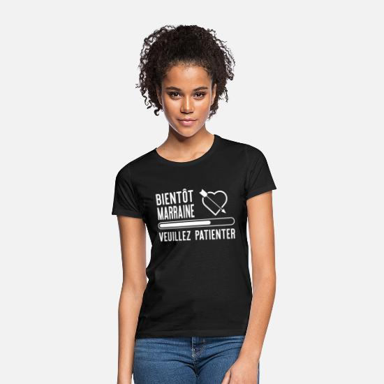 "Marraine T-shirts - ""Bientôt marraine"" t-shirt humour marraine - T-shirt Femme noir"