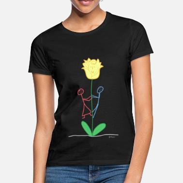 Ground Flower stick figure, woman couple give rose - Women's T-Shirt