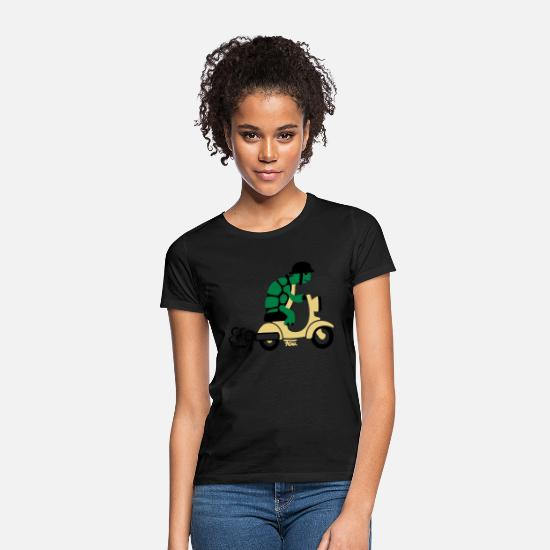 Motorcycle T-Shirts - Turle Moped - colored - Women's T-Shirt black