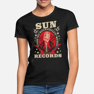 Rockabilly Rockabilly Records Guitar Sun Radio - T-skjorte for kvinner