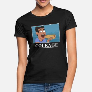 Courage Rick And Morty Courage Is Eating A Hot Dog - Women's T-Shirt