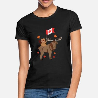 Beaver Canada day with flag beaver and moose gift - Women's T-Shirt