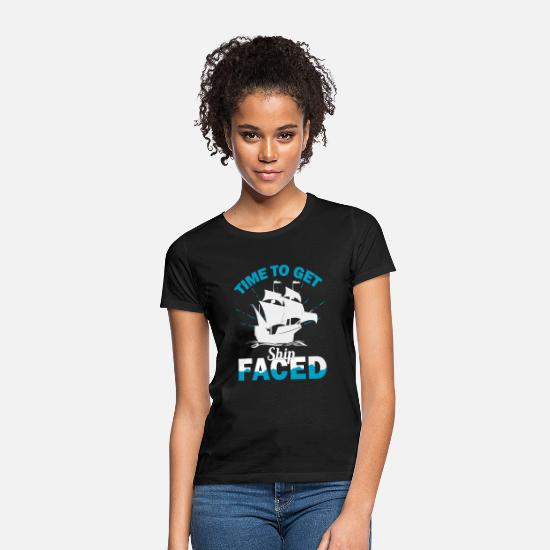 Hilarious T-Shirts - Time To Get Ship Faced - Women's T-Shirt black