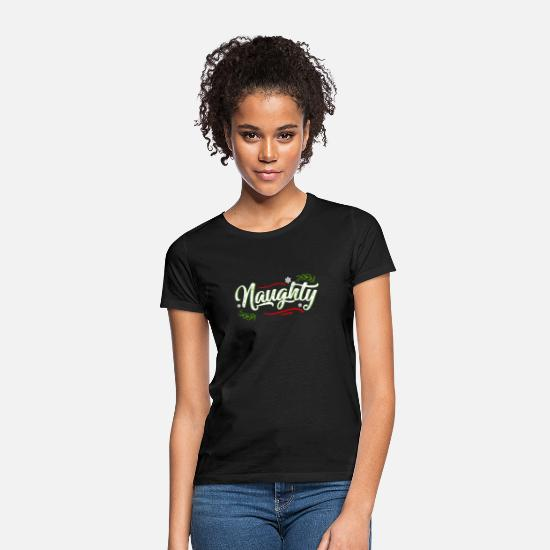 Couple T-shirts - Naughty Christmas Couple Matching Gifts Xmas Holid - T-shirt Femme noir
