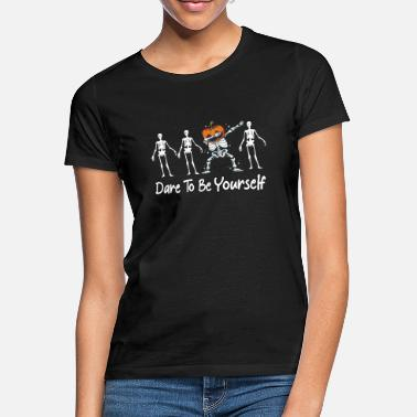 Different Dare To Be Yourself Pumpkin Dabbing Skeleton Hello - Women's T-Shirt
