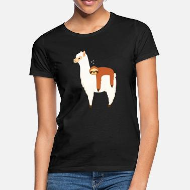 Alpaca Sloth Sleeping On Alpaca - Vrouwen T-shirt