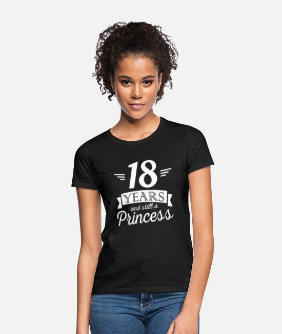 Vuxen T-shirts - 18 years and still a princess - T-shirt dam svart