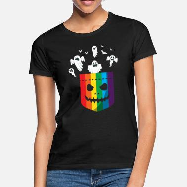 Halloween Halloween LGBT Rainbow Ghost Gay Pride LGBTQ - Women's T-Shirt