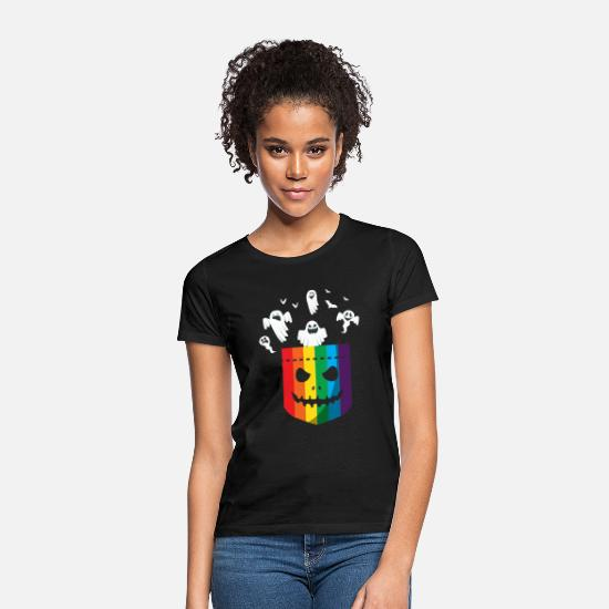 Gay T-Shirts - Halloween LGBT Rainbow Ghost Gay Pride LGBTQ - Women's T-Shirt black