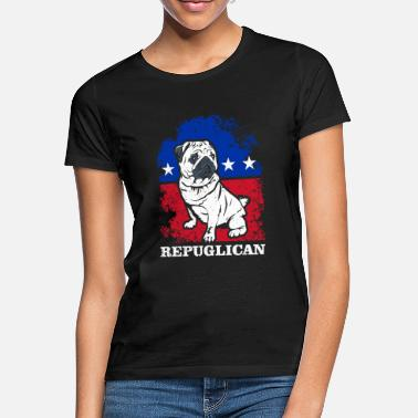 Patriotic Republican Pug Dog America Flag Patriot - Women's T-Shirt