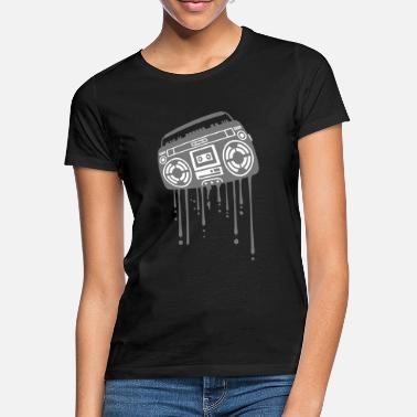Hippie Goddess Ghettoblaster graffiti drops hip hop music playe - Women's T-Shirt