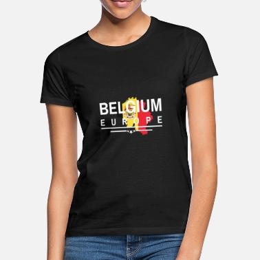 Outline Belgium Flag Europe Country outline Brussels BEL - Women's T-Shirt