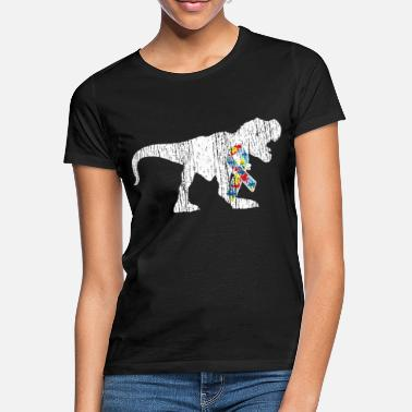 Autism Autism Awareness Puzzle Ribbon Dinosaur - Women's T-Shirt