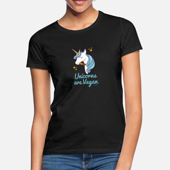 Unicorn T shirt Unicorns är Vegan (blått) T shirt dam svart